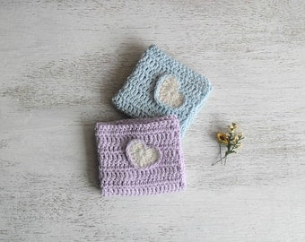 Crocheted placemat light blue and lilac with hearts