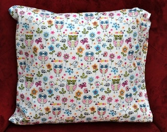 """Decorative pillow 12""""x 12"""" with owl and bird design for you or your pet"""