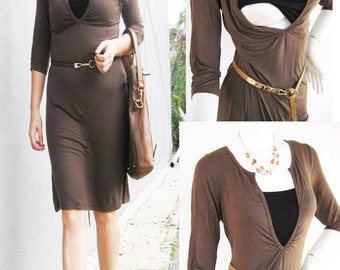 LAUREN Maternity Dresses / Nursing Dress / Breastfeeding Dresses / NEW  Mocha Tunic Maternity Clothing/ Pregnancy