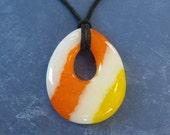 Spring Fashion Jewelry, Striped Teardrop Pendant, Orange, Yellow and White Fused Glass Jewelry - Sakari - 4726 -4
