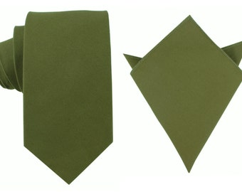 Matching Cotton Necktie + Pocket Square Forest Army Green(C019-T8+P)Men's Handkerchief + Neck Tie Combo Ties Neckties Wedding Formal Natural