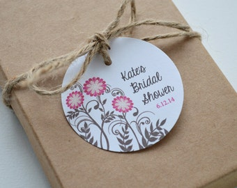 20 Label Favor Tags - 2 inch Round Custom Gift and Candy Tags - Bridal Shower Flowers