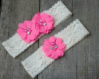 Bubblegum Pink Wedding Garter, Shabby Chic Garter