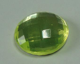 Czech Glass Cabochon 23mm - uranium/vaseline glass, faceted (C23012)