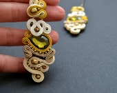 Delicate, LONG DANGLE earrings made by soutache embroidery and Swarovski crystals.