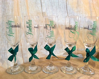 Bride bridesmaid maid of honor mother of the bride mother of the groom personalized champagne flute choose your colors