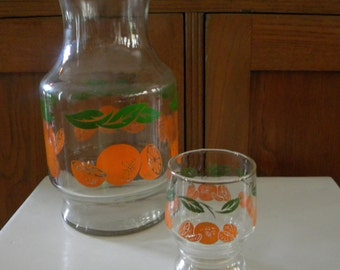 Vintage Anchor Hocking Orange Juice Carafe and Small Juice Glass