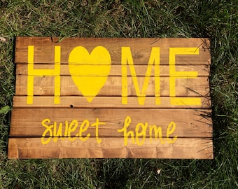 Home Sweet Home Yellow Wooden Sign
