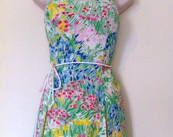 Free Ship / 70s Vintage Gabar Swimsuit Pin Up Romper Playsuit  Bombshell Floral