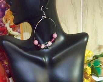 Earrings - Pink & Purple Hoops