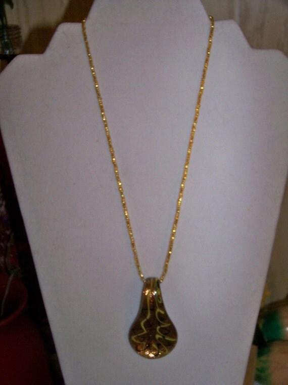 Necklace - Murano Glass Pendant, Gold, Black, Yellow