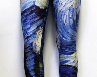 Starry Night Vincent Van Gogh Stretchy Geek Leggings One Size