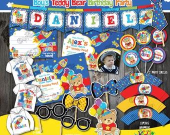 Teddy Bear Birthday Party Package, Teddy Bear Party, Teddy Bear First Birthday,1st rocket Birthday invitation, bear space rocket party