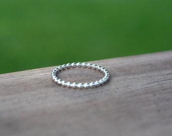 Dainty Sterling Silver Beaded Stacking Ring
