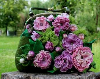 "Felt Handbag Of 100% Wool ""Isolde"", rosa, olive green"
