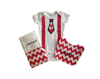 Personalized Baby Boy Onesie, Bib, and Burp Cloth Set