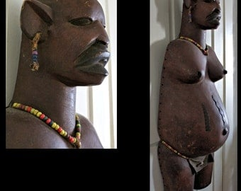 Stunning Makonde Full Pregnant Body Mask with Beads / African Mask - Sculpture ~ African Art (Tanzania)
