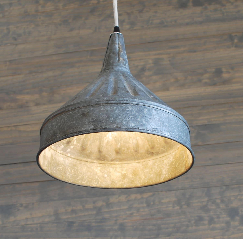 Funky Rustic Galvanized Pendant Light Via Etsy: Upcycled Galvanized Vintage Farm Funnel Pendant Light With