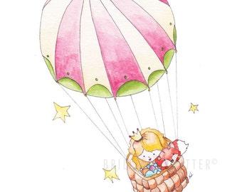 Princess Nursery Art - Hot Air Balloon Children's Art - Princess Illustration - Princess Baby Art - Girl Nursery Art - Princess Girls Room