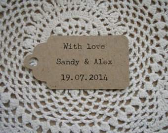 6cm x 3.5cm Rustic Recycled Card Tag - Great for Wedding Place Cards, Thank You Tags