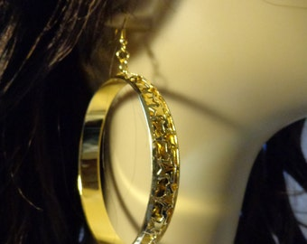 LARGE 2.75 inch GOLD tone Open Hoop earrings side design