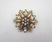 Vintage 40's Trifari Rhinestone Brooch, Clear Glass Stones, Gold Tone Finish