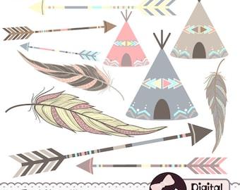 Painted Feather Clip Art, Arrow Clipart, Tribal Aztec Digital Graphics