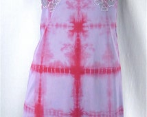 Upcycled Vintage Full Slip 36 MEDIUM Tie Dye Slip Dress Vintage Lingerie Hippie Sundress Nightgown Hand Dyed Festival Dress Bridal Beach