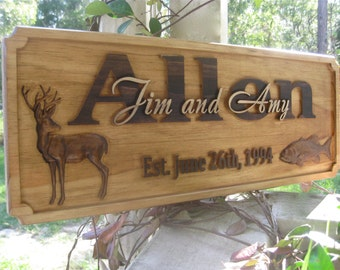 50th Anniversary Gifts Personalized Family Name Sign Rustic Wedding Gift Establish Name Sign Deer Hunt Cabin Sign Wood Farmhouse Decor Sign