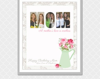 MOM Picture Word- 8x10 - Custom Digital Print- A Mother's Love is Endless- EOgdenAve