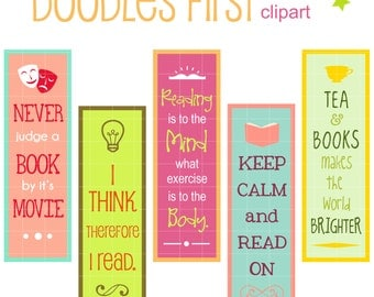 Reading Quotes Bookmarks Digital Clip Art for Scrapbooking Card Making Cupcake Toppers Paper Crafts