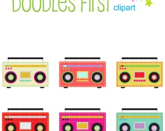 Funky Boombox Digital Clip Art for Scrapbooking Card Making Cupcake Toppers Paper Crafts