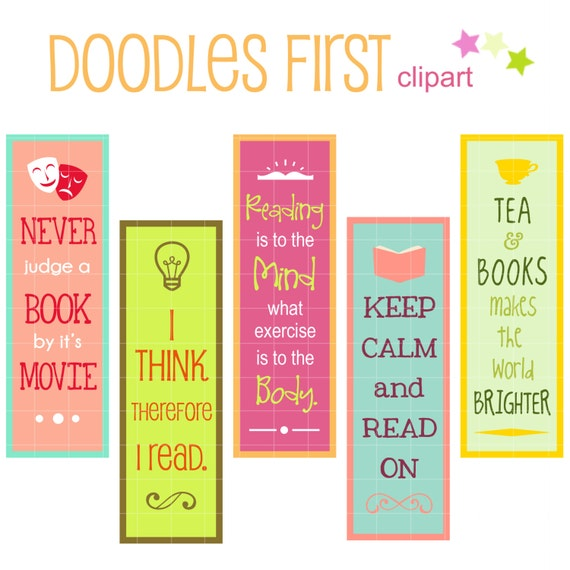 reading quotes bookmarks digital clip art for scrapbooking