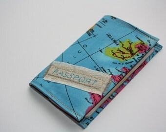 World Map Passport Cover,Fabric Passport Case,Linnen cover,Passport wallet,Mens paspoort