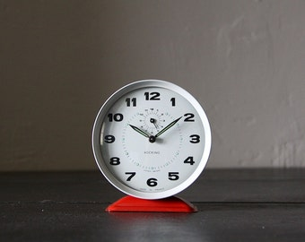Mid Century French Bayard Alarm Clock Red