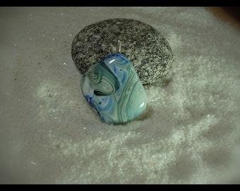 Blue Green Swirl Pot Melt Kiln Fired Glass Pendant