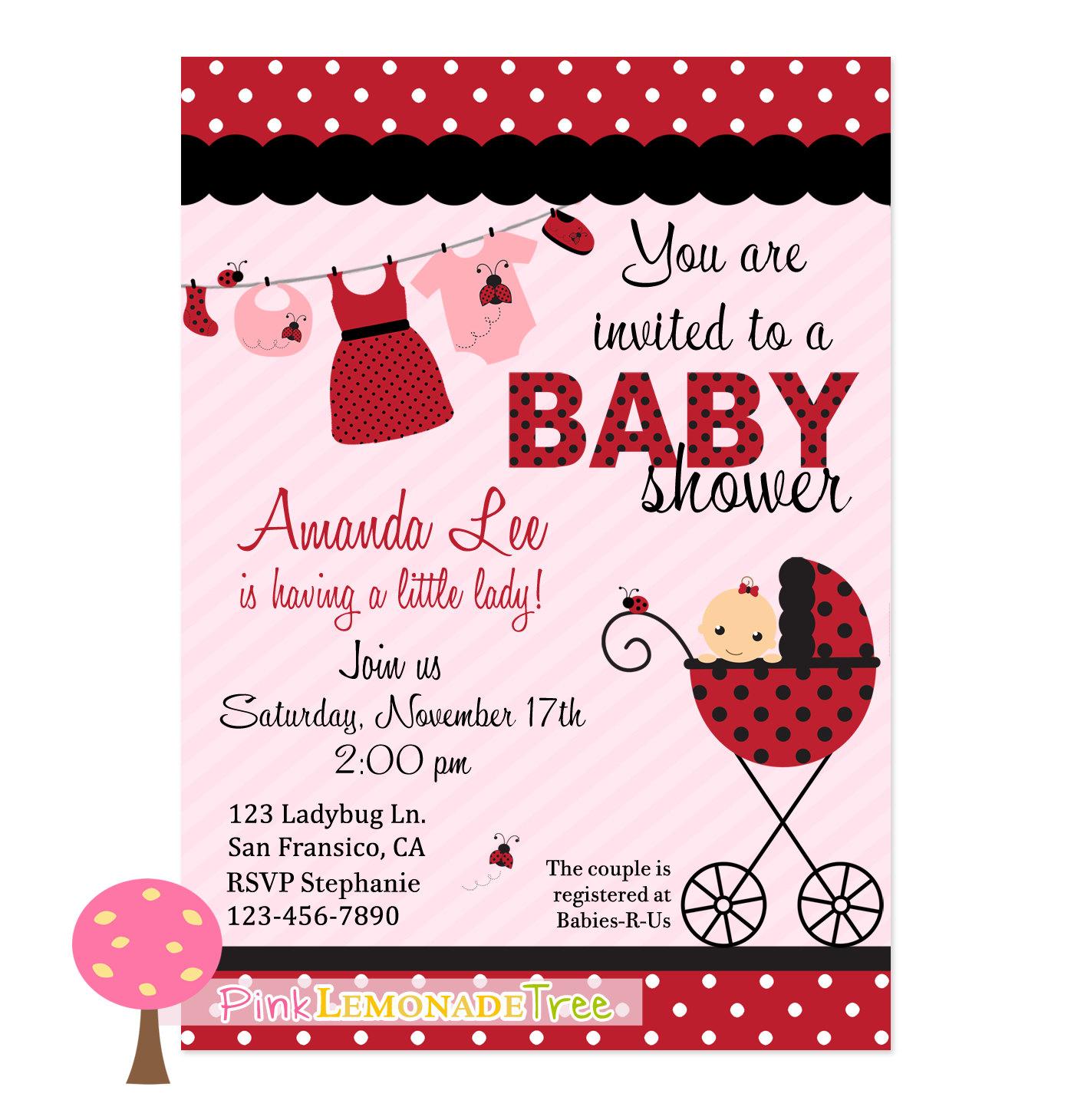 Ladybug Baby Shower Invitation Ladybug Invite By
