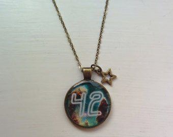 Hitchhikers Guide to the Galaxy Meaning Of Life 42 Necklace