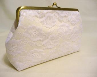 Rose Lace Bridal Clutch, Bridesmaid Clutch, Lace Wedding Clutch, Seven Inch Frame