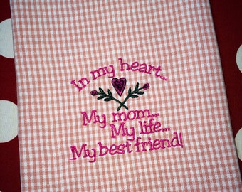 Embroidered  Mother's Love Tea Towel / Dish Towel - great holiday gift