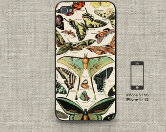 Cell phone case iphone 5 / 5s / 5c 4 / 4s Samsung Galaxy S3 / S4 -Vintage French Butterflies Print Design Number 106