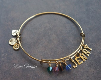 Personalized Birthstone Name Bangle, Avalable in Silver or Gold, Choose Your Name and Stone, Name Bracelet
