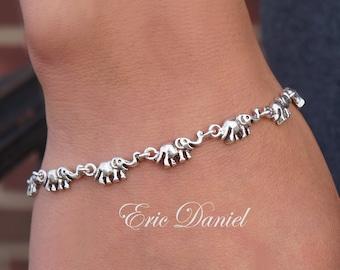 Elephant Charm Bracelet or Anklet Sterling Silver, Yellow Gold or Rose Gold, Animal Bracelet, Elephant Bracelet, Animal Anklet, Ganesh