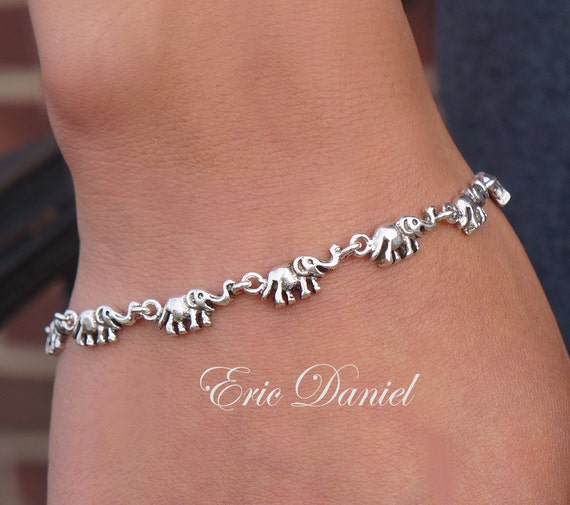 Charm Bracelet Jewelry: Elephant Charm Bracelet Or Anklet Sterling Silver Yellow Gold
