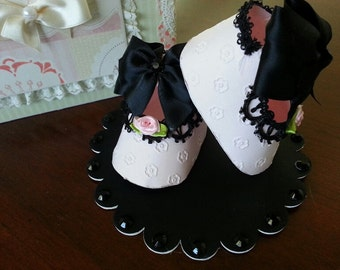 Pink And Black Shoe Topper / Cake Topper