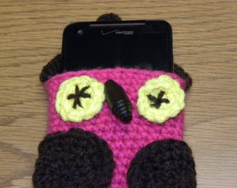 Owl Cell Phone Cozy,crocheted,Teens,children,young adults,Unique,Accessories,Owl,Whooo,Case,Cute,I phone,Protector,Android,bags and purses,
