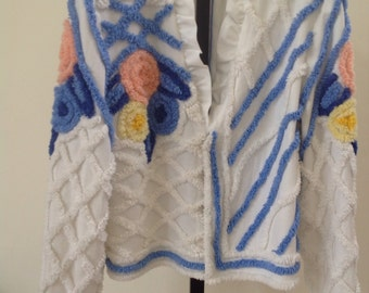 Chenille jacket. Made from vintage fabric. One of a kind. New. Hard to find.