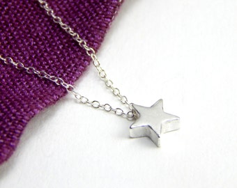 Small sterling silver star necklace, tinny star charm necklace, tiny star necklace, sterling silver charm necklace, elegant necklace 153