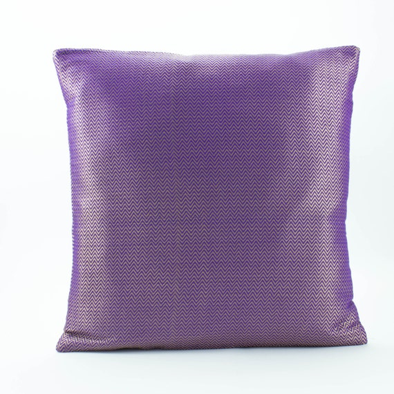 Items Similar To Purple And Gold Silk Pillow Decorative