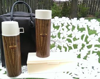 SALE Retro Thermos Woodgrain Picnic Set